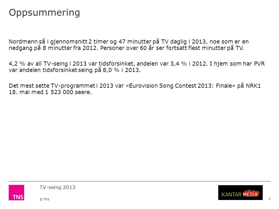 3.14 X AXIS 6.65 BASE MARGIN 5.95 TOP MARGIN 4.52 CHART TOP 11.90 LEFT MARGIN 11.90 RIGHT MARGIN TV-seing 2013 © TNS 3 TNS Gallup TV-meterpanel gir de offisielle tallene for TV-seingen i Norge.