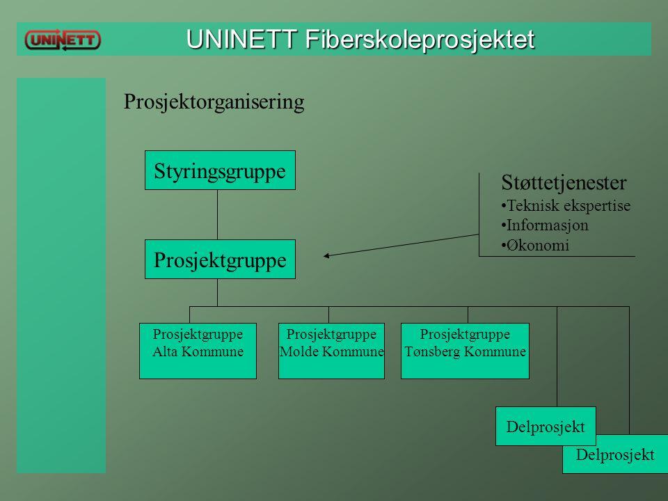 UNINETT Fiberskoleprosjektet UNINETT Fiberskoleprosjektet Prosjektorganisering Styringsgruppe Prosjektgruppe Alta Kommune Prosjektgruppe Molde Kommune