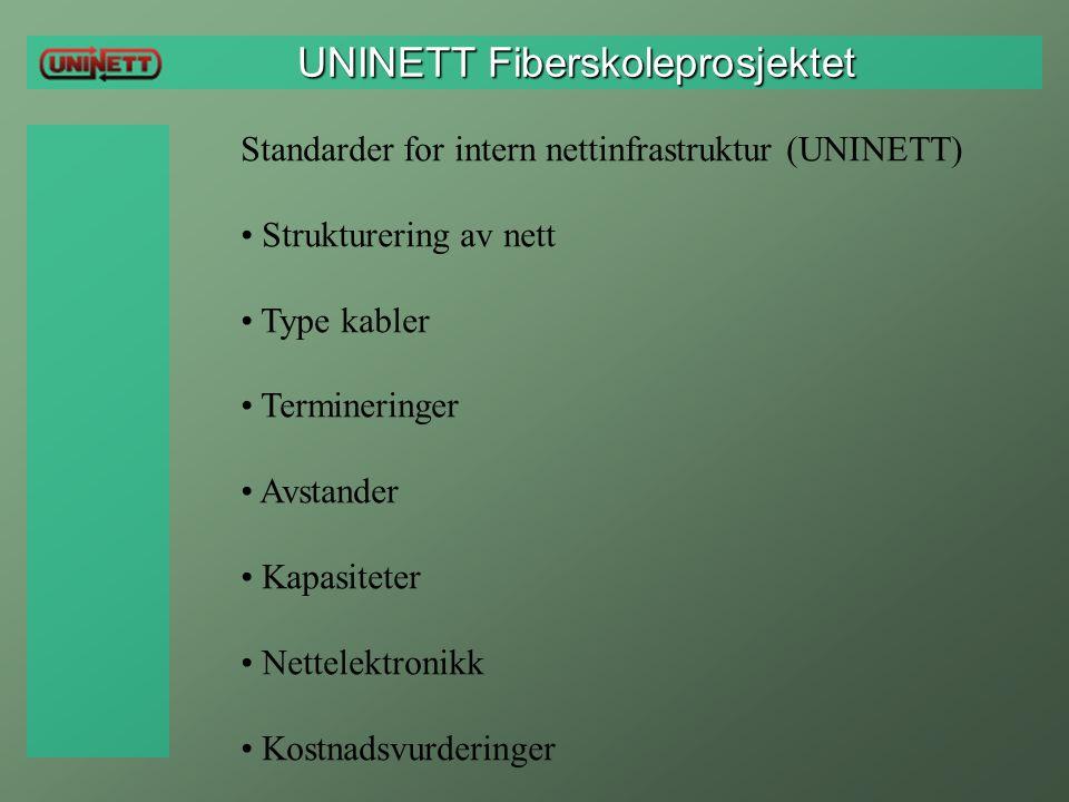 UNINETT Fiberskoleprosjektet UNINETT Fiberskoleprosjektet Standarder for intern nettinfrastruktur (UNINETT) Strukturering av nett Type kabler Terminer
