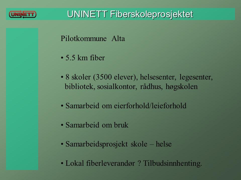 UNINETT Fiberskoleprosjektet UNINETT Fiberskoleprosjektet Pilotkommune Alta 5.5 km fiber 8 skoler (3500 elever), helsesenter, legesenter, bibliotek, s