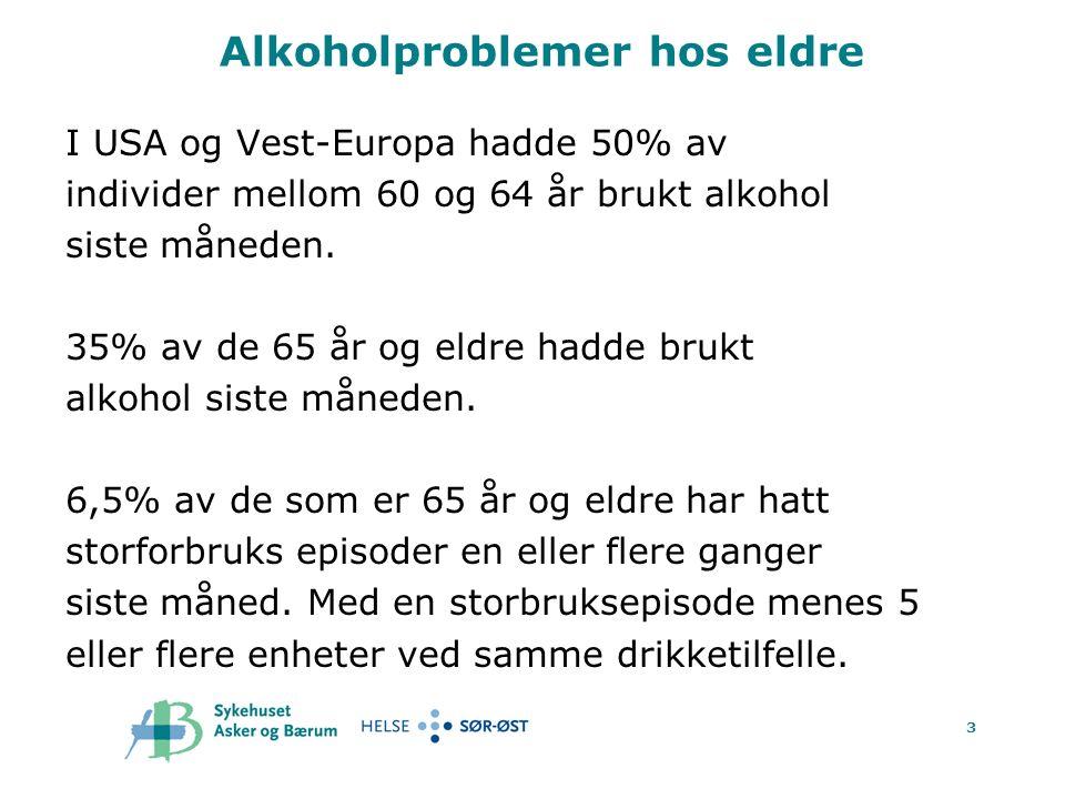 4 Alkoholproblemer hos eldre.Hva er en standard enhet eller drink.