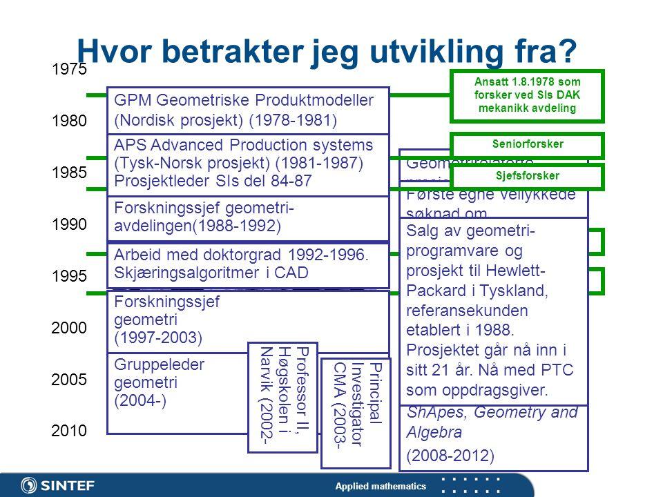 Applied mathematics SINTEF & SI Fusjonerer Vellykket KMB-søknad: Iso-geometry. (2008- 2011) GAIA (2001-2005) Koordinator EU- prosjekt (IST FET Open) b