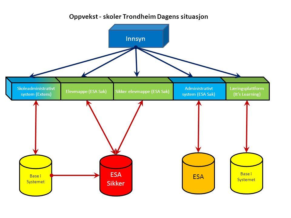 Læringsplattform (It's Learning) Administrativt system (ESA Sak) ESA Sikker Sikker elevmappe (ESA Sak) Innsyn Oppvekst - skoler Trondheim Dagens situa