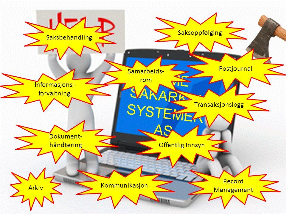 ACME SAKARKIV- SYSTEMER AS Saksbehandling Saksoppfølging Informasjons- forvaltning Offentlig Innsyn Transaksjonslogg Record Management Arkiv Kommunikasjon Dokument- håndtering Samarbeids- rom Postjournal