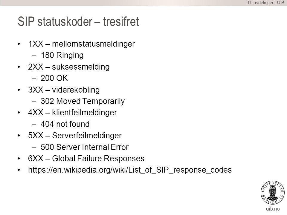 uib.no SIP statuskoder – tresifret 1XX – mellomstatusmeldinger –180 Ringing 2XX – suksessmelding –200 OK 3XX – viderekobling –302 Moved Temporarily 4XX – klientfeilmeldinger –404 not found 5XX – Serverfeilmeldinger –500 Server Internal Error 6XX – Global Failure Responses https://en.wikipedia.org/wiki/List_of_SIP_response_codes IT-avdelingen, UiB