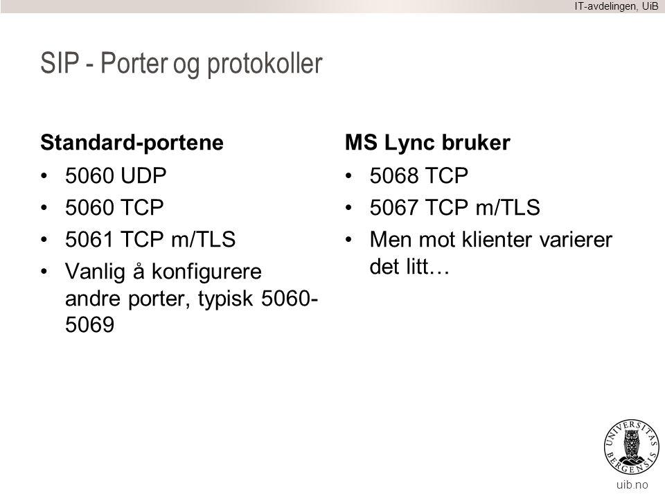 uib.no SIP - Porter og protokoller Standard-portene 5060 UDP 5060 TCP 5061 TCP m/TLS Vanlig å konfigurere andre porter, typisk 5060- 5069 MS Lync bruk