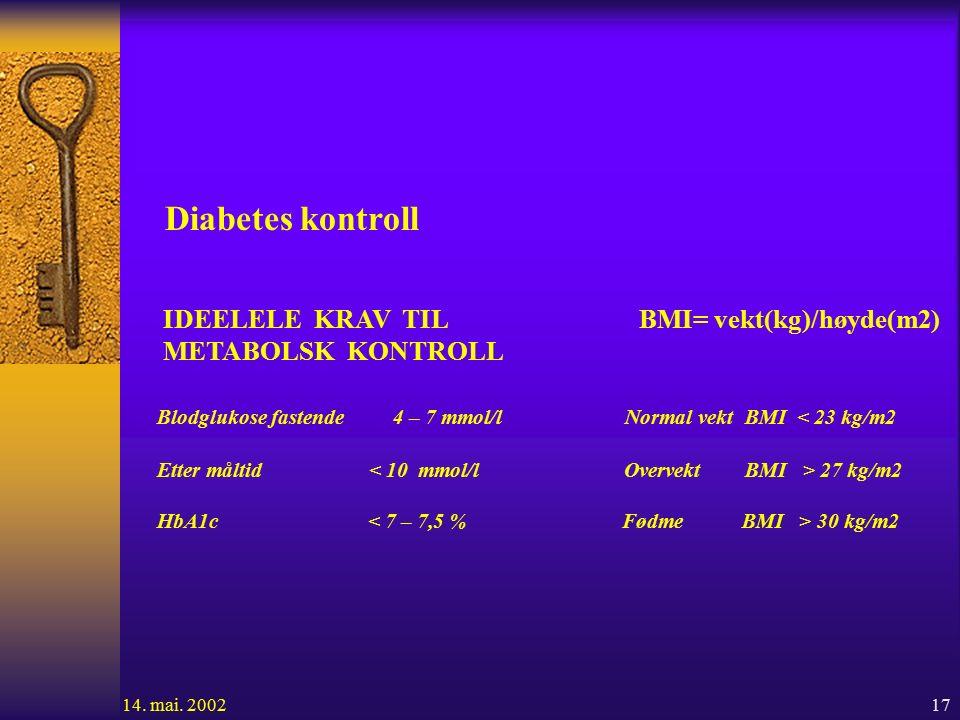 17 Diabetes kontroll IDEELELE KRAV TIL BMI= vekt(kg)/høyde(m2) METABOLSK KONTROLL Blodglukose fastende 4 – 7 mmol/l Normal vekt BMI < 23 kg/m2 Etter måltid 27 kg/m2 HbA1c 30 kg/m2 14.