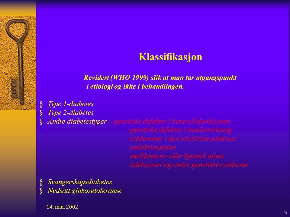 3 Klassifikasjon Revidert (WHO 1999) slik at man tar utgangspunkt i etiologi og ikke i behandlingen.