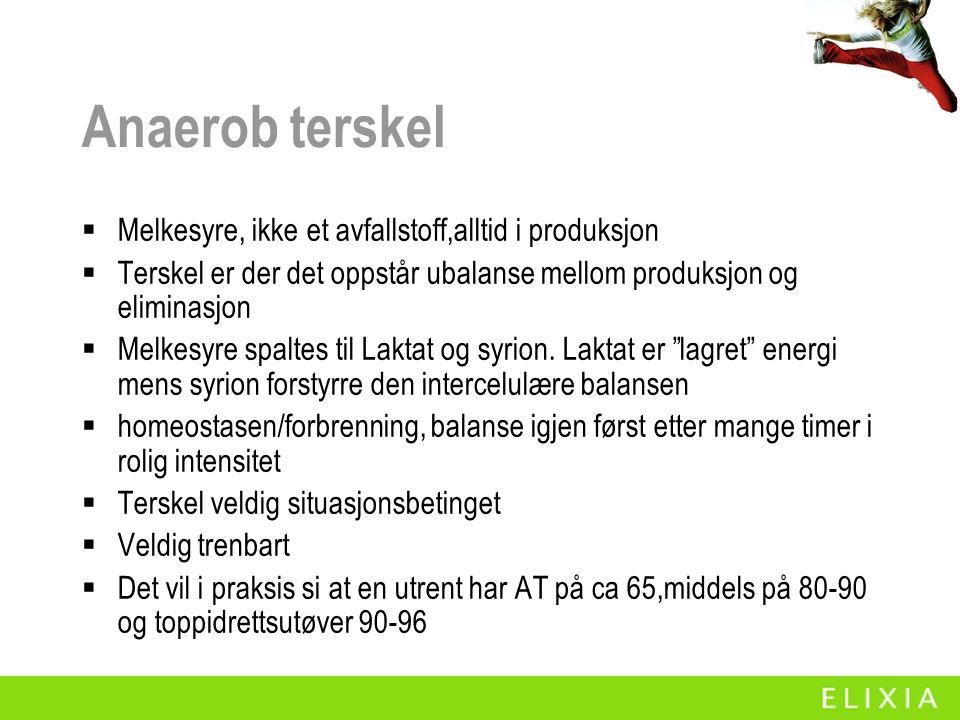 Anaerob terskel  Melkesyre, ikke et avfallstoff,alltid i produksjon  Terskel er der det oppstår ubalanse mellom produksjon og eliminasjon  Melkesyre spaltes til Laktat og syrion.