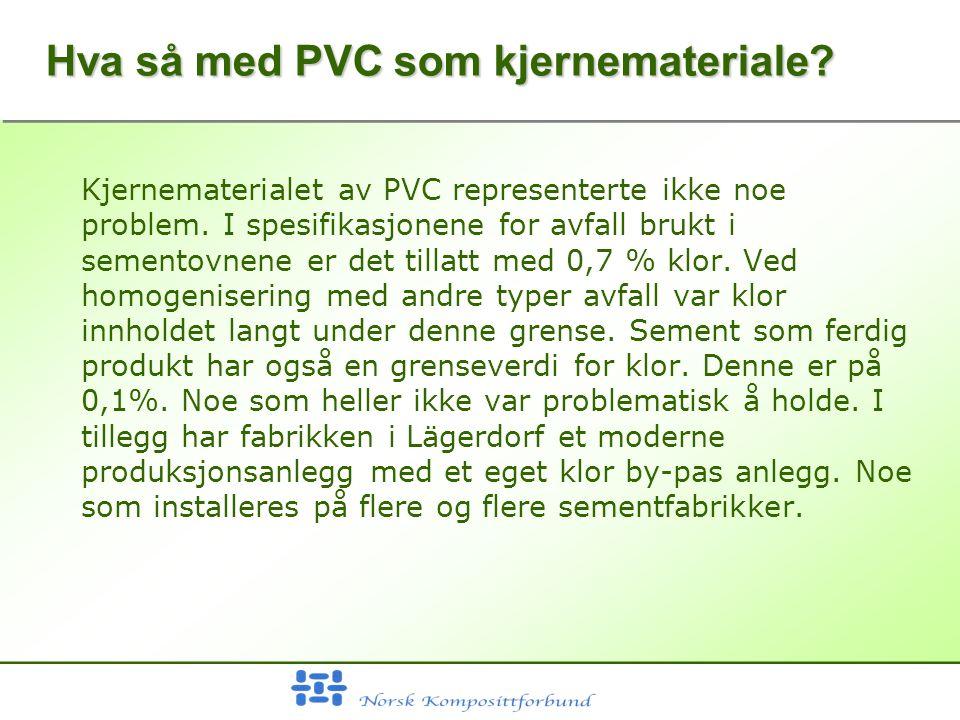 Hva så med PVC som kjernemateriale. Kjernematerialet av PVC representerte ikke noe problem.
