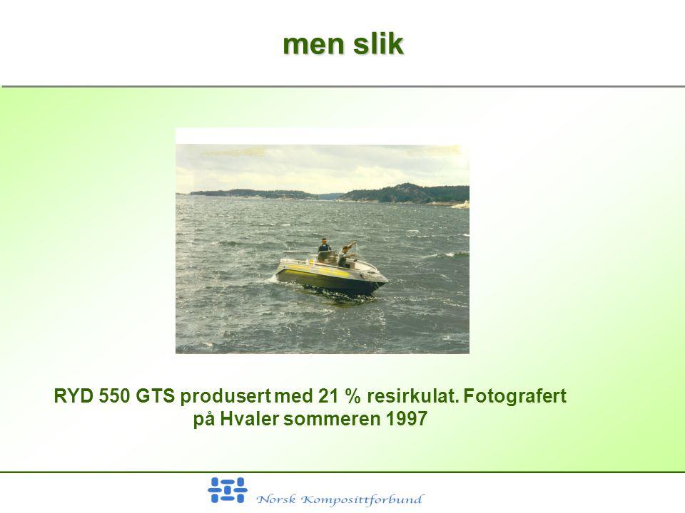 men slik RYD 550 GTS produsert med 21 % resirkulat. Fotografert på Hvaler sommeren 1997