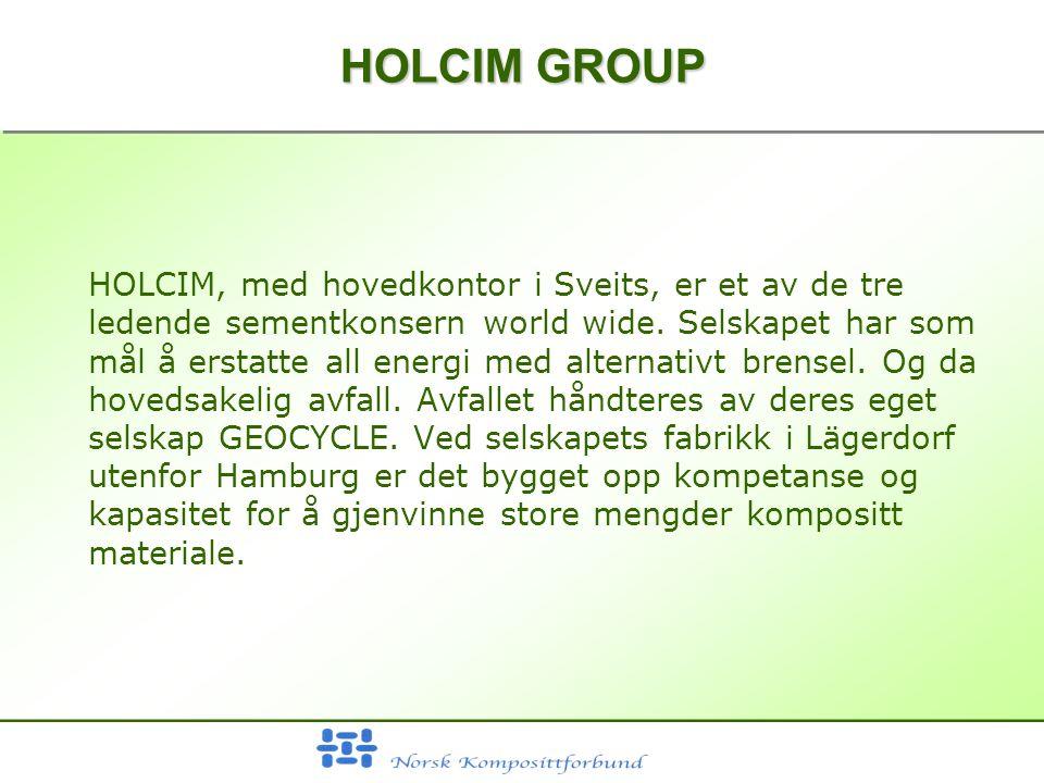 HOLCIM GROUP HOLCIM, med hovedkontor i Sveits, er et av de tre ledende sementkonsern world wide.