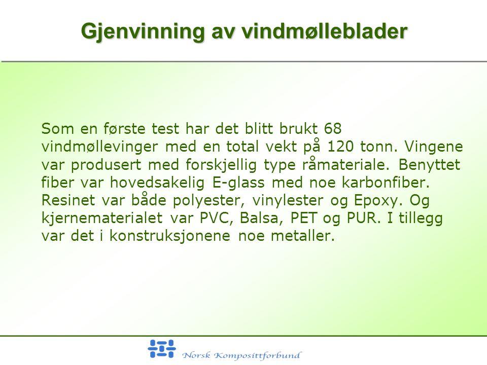 Gjenvinning av vindmølleblader Som en første test har det blitt brukt 68 vindmøllevinger med en total vekt på 120 tonn.
