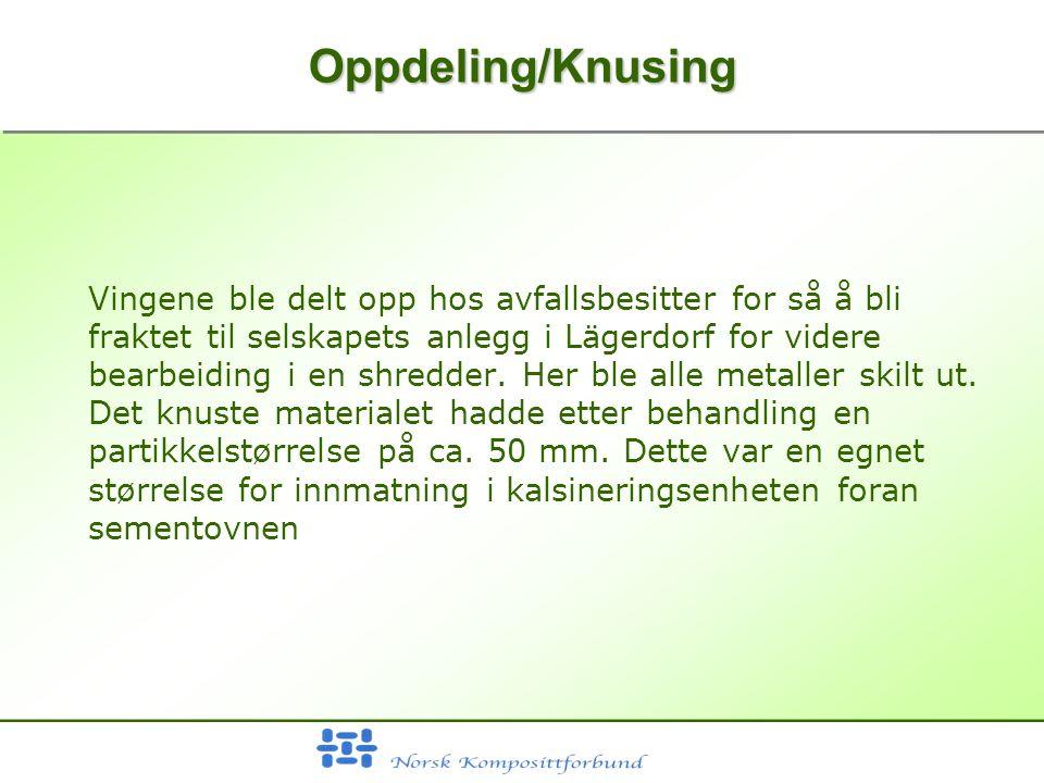 Oppdeling/KnusingOppdeling/Knusing Vingene ble delt opp hos avfallsbesitter for så å bli fraktet til selskapets anlegg i Lägerdorf for videre bearbeiding i en shredder.