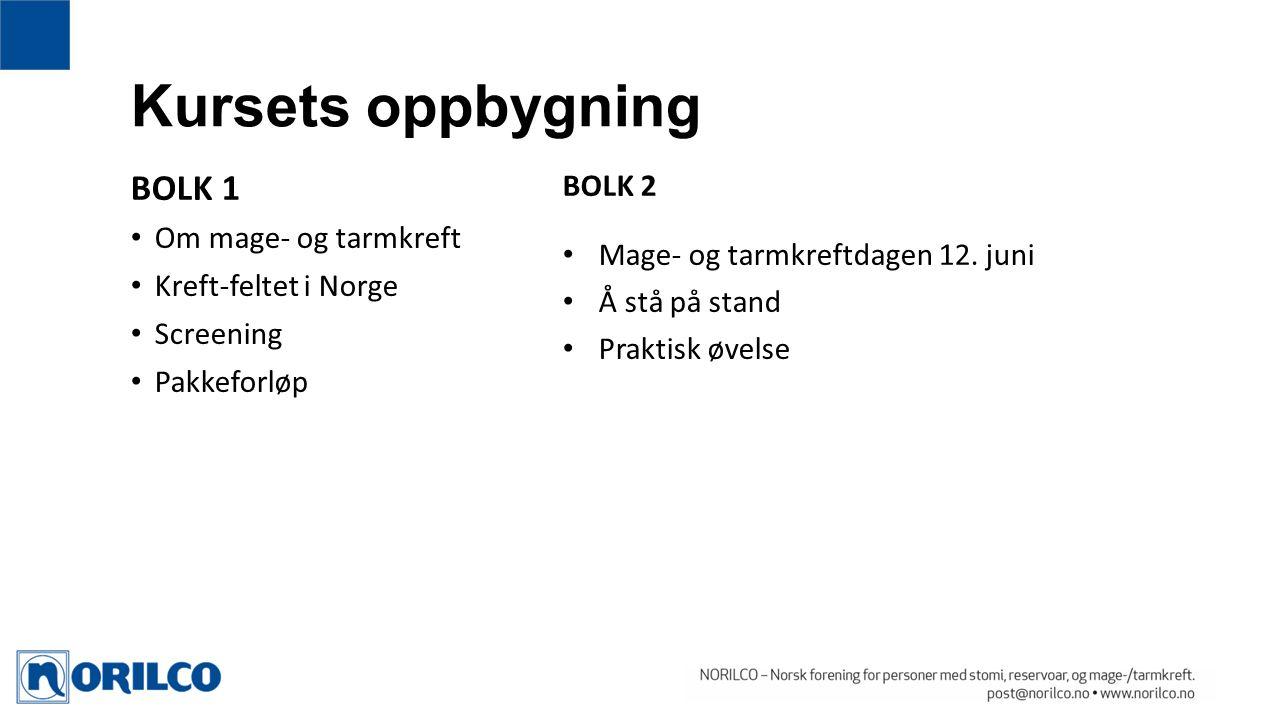 Kursets oppbygning BOLK 1 Om mage- og tarmkreft Kreft-feltet i Norge Screening Pakkeforløp BOLK 2 Mage- og tarmkreftdagen 12.