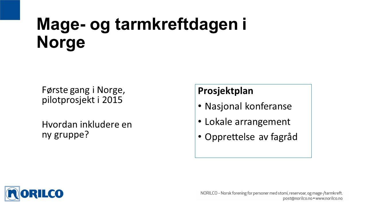Mage- og tarmkreftdagen i Norge Prosjektplan Nasjonal konferanse Lokale arrangement Opprettelse av fagråd Første gang i Norge, pilotprosjekt i 2015 Hvordan inkludere en ny gruppe