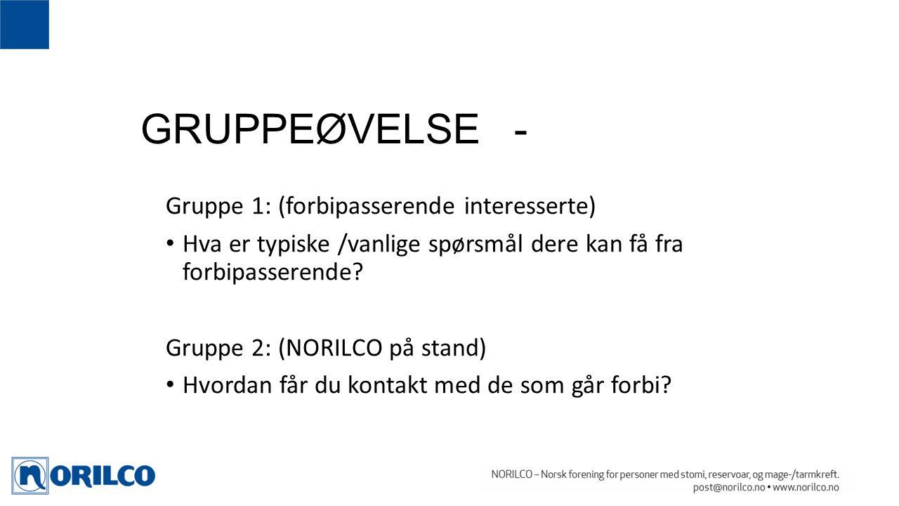 GRUPPEØVELSE - Gruppe 1: (forbipasserende interesserte) Hva er typiske /vanlige spørsmål dere kan få fra forbipasserende.