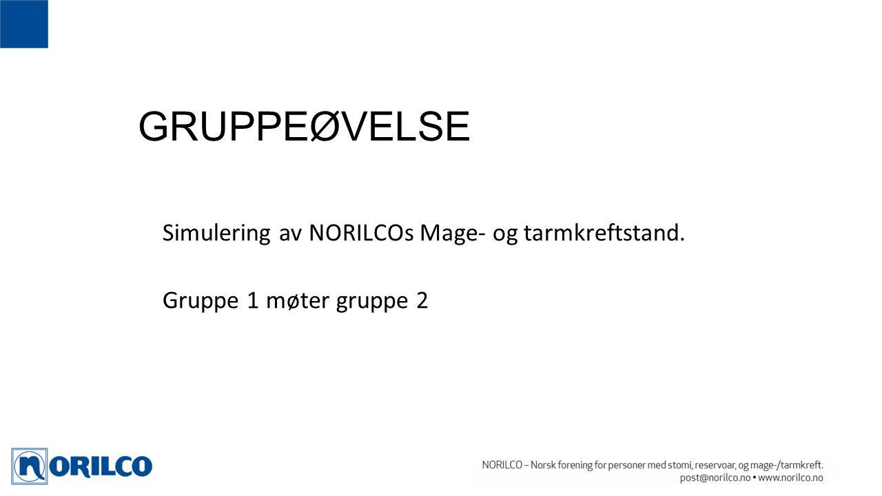 GRUPPEØVELSE Simulering av NORILCOs Mage- og tarmkreftstand. Gruppe 1 møter gruppe 2