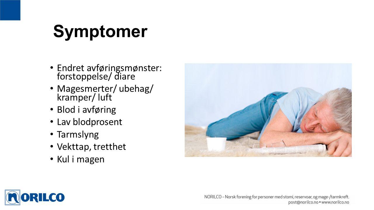 Symptomer Endret avføringsmønster: forstoppelse/ diare Magesmerter/ ubehag/ kramper/ luft Blod i avføring Lav blodprosent Tarmslyng Vekttap, tretthet Kul i magen