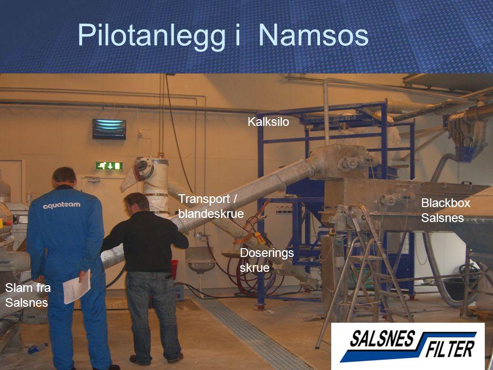 Pilotanlegg i Namsos Kalksilo Slam fra Salsnes Doserings skrue Blackbox Salsnes Transport / blandeskrue