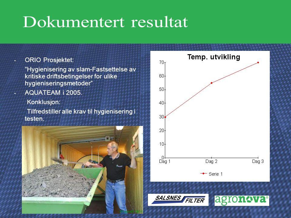 """ORIO Prosjektet: """"Hygienisering av slam-Fastsettelse av kritiske driftsbetingelser for ulike hygieniseringsmetoder"""" AQUATEAM i 2005. Konklusjon: Tilfr"""