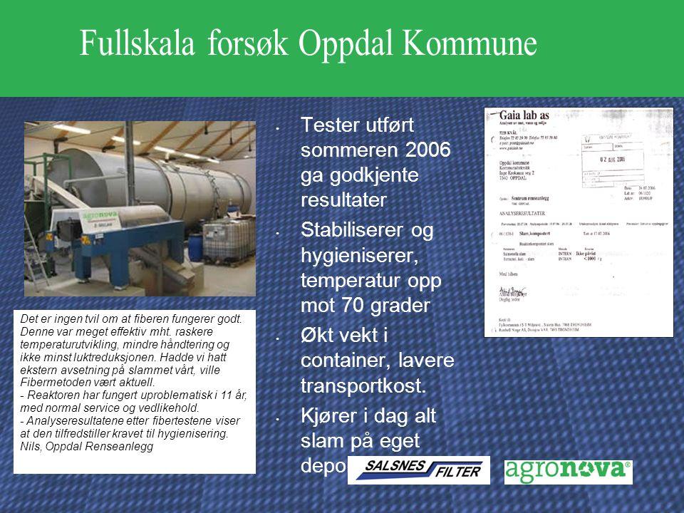 Tester utført sommeren 2006 ga godkjente resultater Stabiliserer og hygieniserer, temperatur opp mot 70 grader Økt vekt i container, lavere transportkost.
