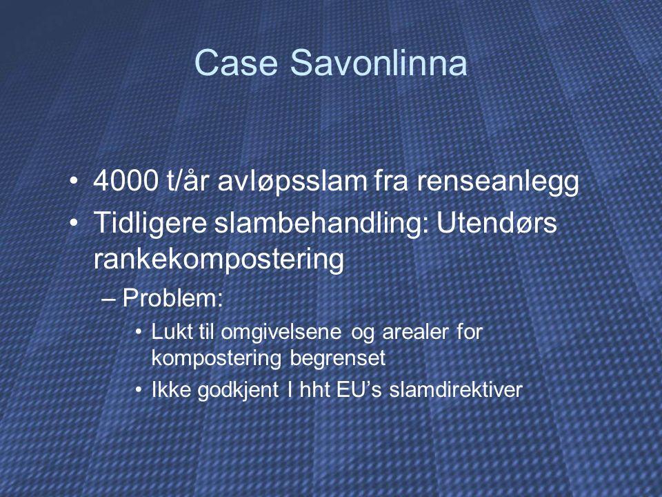 Case Savonlinna 4000 t/år avløpsslam fra renseanlegg Tidligere slambehandling: Utendørs rankekompostering –Problem: Lukt til omgivelsene og arealer for kompostering begrenset Ikke godkjent I hht EU's slamdirektiver