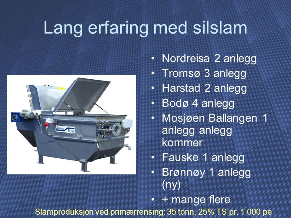 Lang erfaring med silslam Nordreisa 2 anlegg Tromsø 3 anlegg Harstad 2 anlegg Bodø 4 anlegg Mosjøen Ballangen 1 anlegg anlegg kommer Fauske 1 anlegg Brønnøy 1 anlegg (ny) + mange flere Slamproduksjon ved primærrensing: 35 tonn, 25% TS pr.