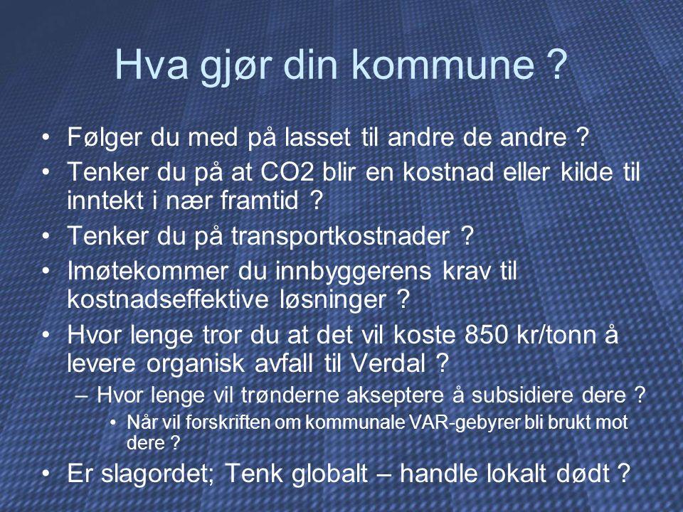Hva gjør din kommune ? Følger du med på lasset til andre de andre ? Tenker du på at CO2 blir en kostnad eller kilde til inntekt i nær framtid ? Tenker