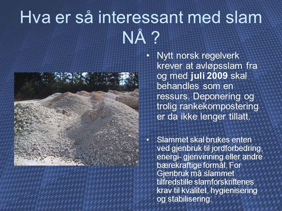 Hva er så interessant med slam NÅ ? Nytt norsk regelverk krever at avløpsslam fra og med juli 2009 skal behandles som en ressurs. Deponering og trolig