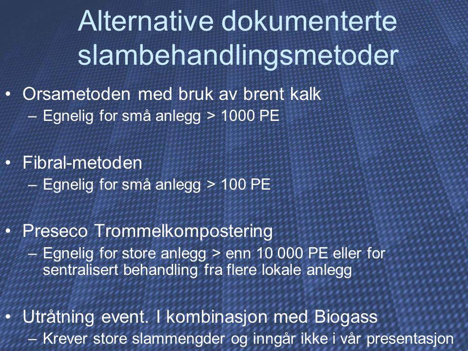 Alternative dokumenterte slambehandlingsmetoder Orsametoden med bruk av brent kalk –Egnelig for små anlegg > 1000 PE Fibral-metoden –Egnelig for små a