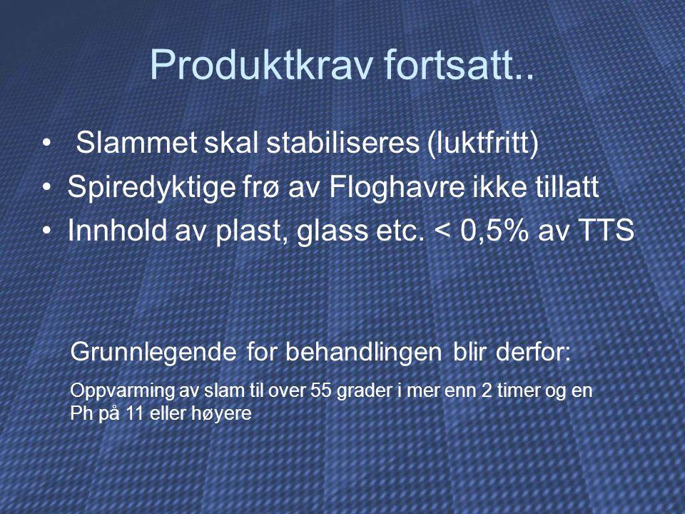 Produktkrav fortsatt.. Slammet skal stabiliseres (luktfritt) Spiredyktige frø av Floghavre ikke tillatt Innhold av plast, glass etc. < 0,5% av TTS Gru