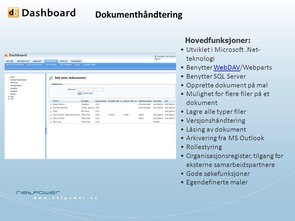 Dokumenthåndtering Utviklet i Microsoft.Net- teknologi Benytter WebDAV/WebpartsWebDAV Benytter SQL Server Opprette dokument på mal Mulighet for flere