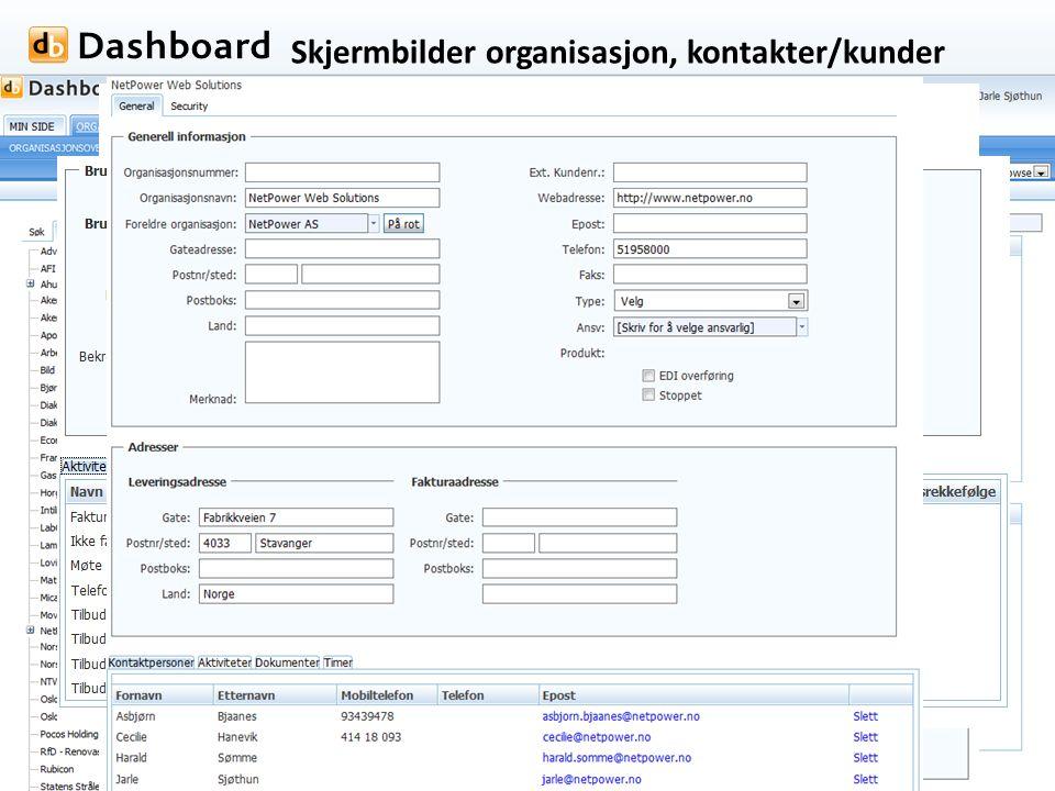 Skjermbilder organisasjon, kontakter/kunder