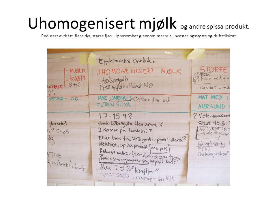 Uhomogenisert mjølk og andre spissa produkt.