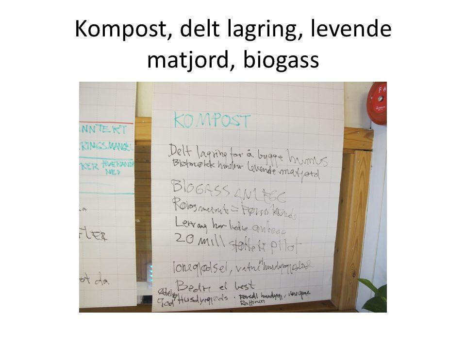 Kompost, delt lagring, levende matjord, biogass