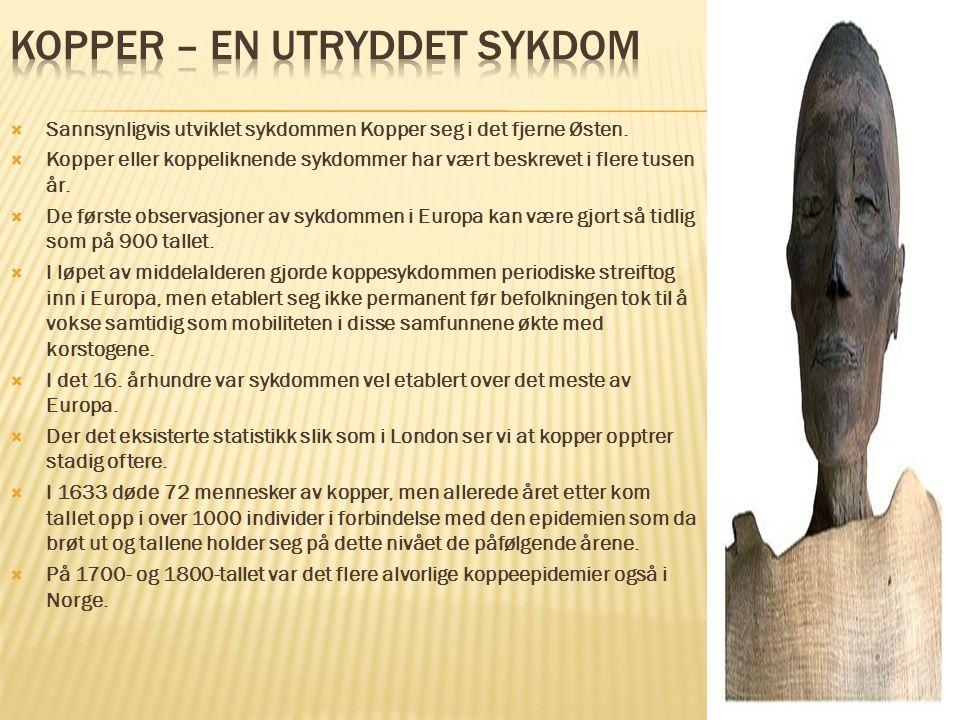  Sannsynligvis utviklet sykdommen Kopper seg i det fjerne Østen.  Kopper eller koppeliknende sykdommer har vært beskrevet i flere tusen år.  De før