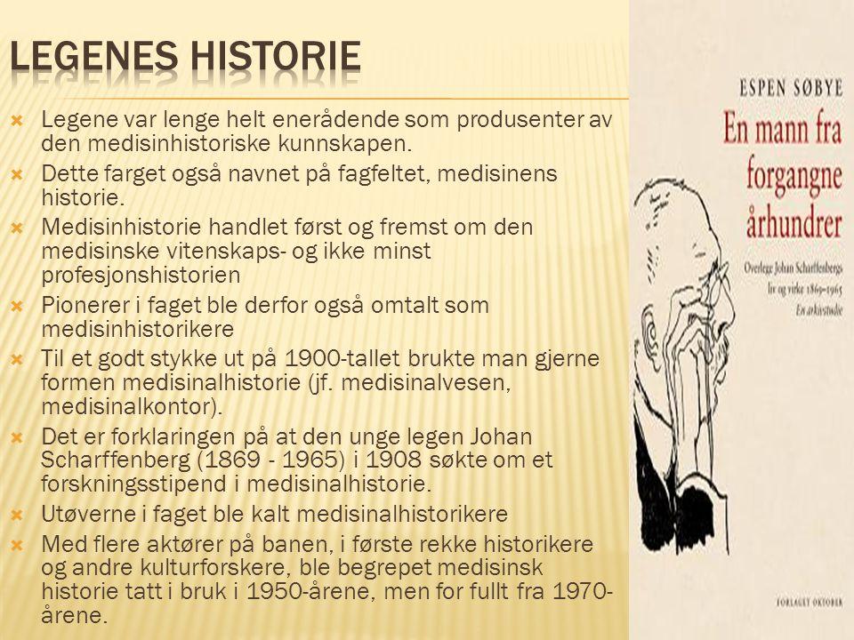  Legene var lenge helt enerådende som produsenter av den medisinhistoriske kunnskapen.  Dette farget også navnet på fagfeltet, medisinens historie.