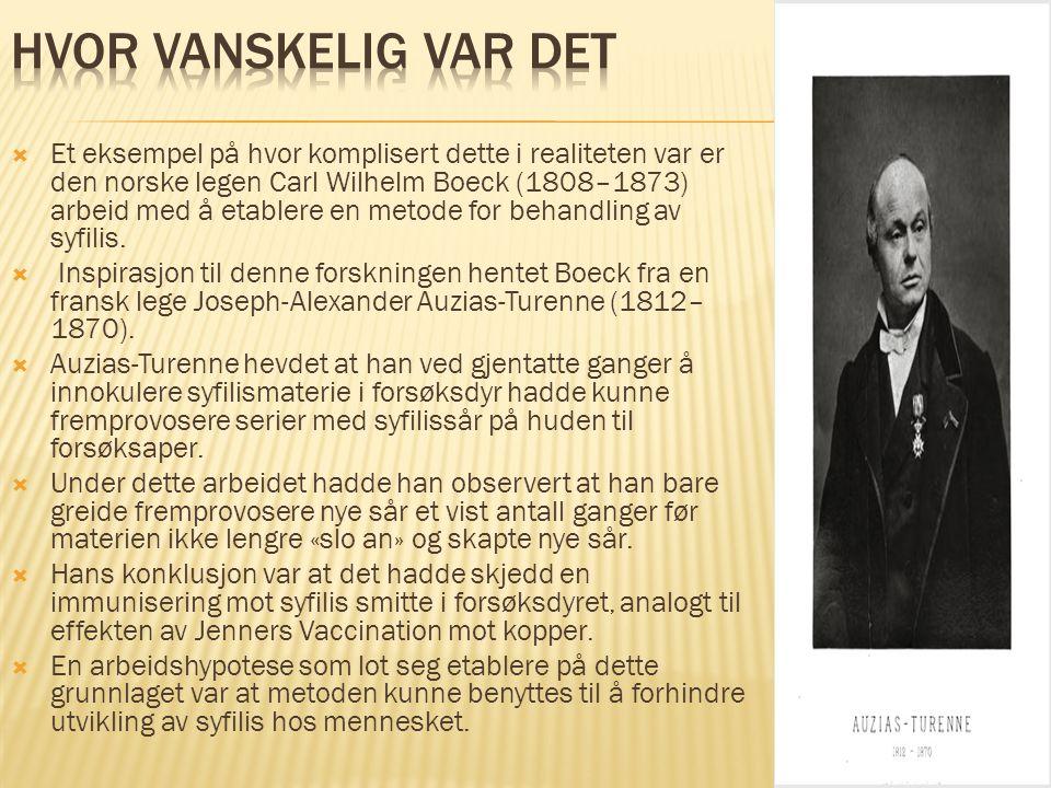  Et eksempel på hvor komplisert dette i realiteten var er den norske legen Carl Wilhelm Boeck (1808–1873) arbeid med å etablere en metode for behandl