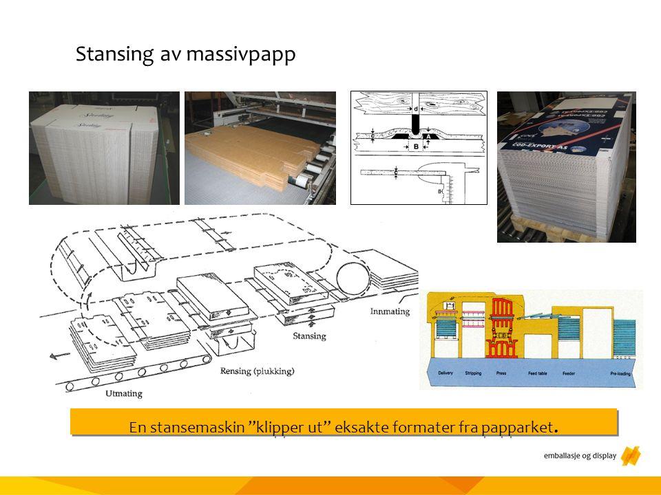 Materialtesting Stansing av massivpapp En stansemaskin klipper ut eksakte formater fra papparket.