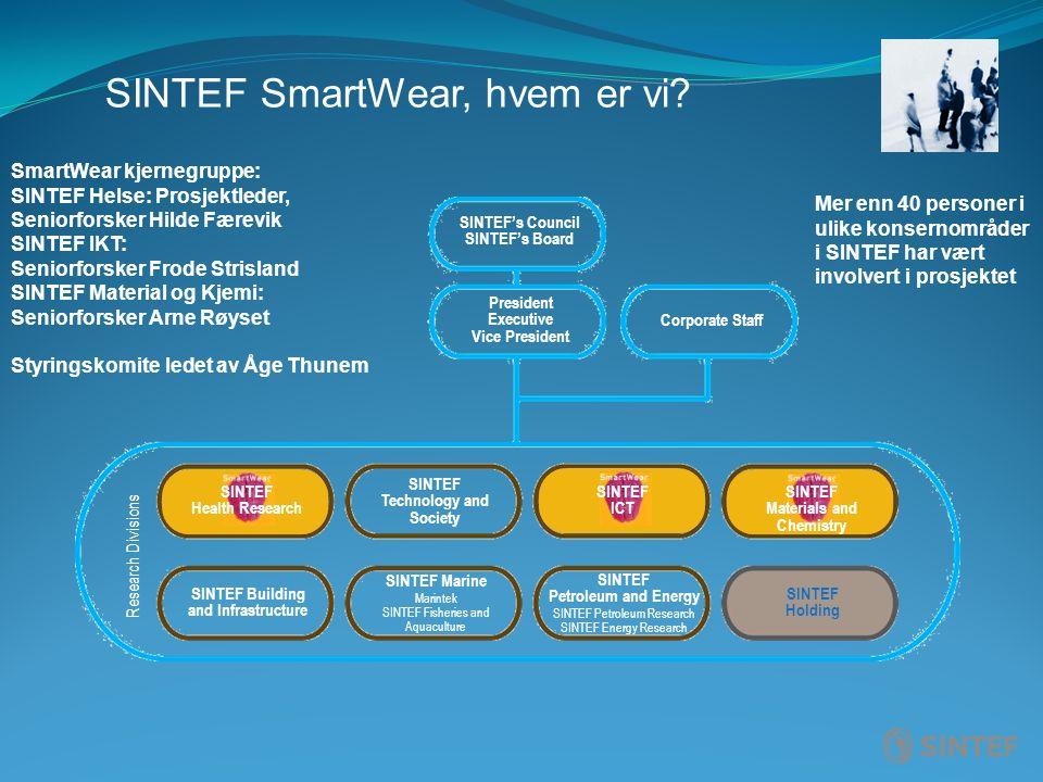 SINTEF SmartWear, hvem er vi? Research Divisions SINTEF Technology and Society SINTEF ICT SINTEF Materials and Chemistry SINTEF Building and Infrastru