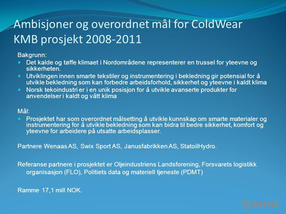 Ambisjoner og overordnet mål for ColdWear KMB prosjekt 2008-2011 Bakgrunn: Det kalde og tøffe klimaet i Nordområdene representerer en trussel for yteevne og sikkerheten.