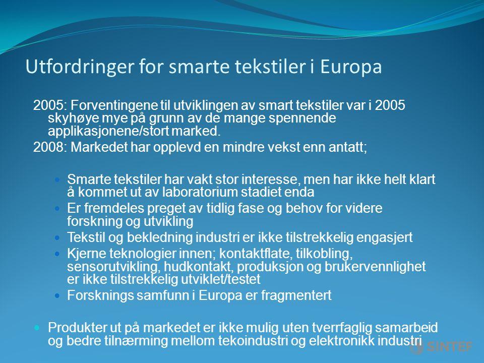 Utfordringer for smarte tekstiler i Europa 2005: Forventingene til utviklingen av smart tekstiler var i 2005 skyhøye mye på grunn av de mange spennende applikasjonene/stort marked.