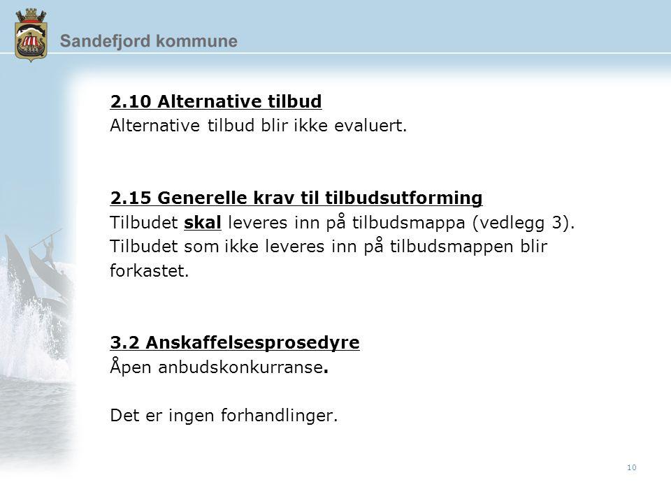 10 2.10 Alternative tilbud Alternative tilbud blir ikke evaluert.