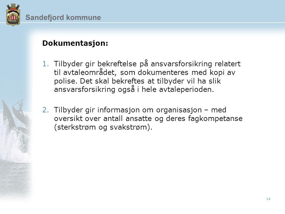 14 Dokumentasjon: 1.Tilbyder gir bekreftelse på ansvarsforsikring relatert til avtaleområdet, som dokumenteres med kopi av polise.