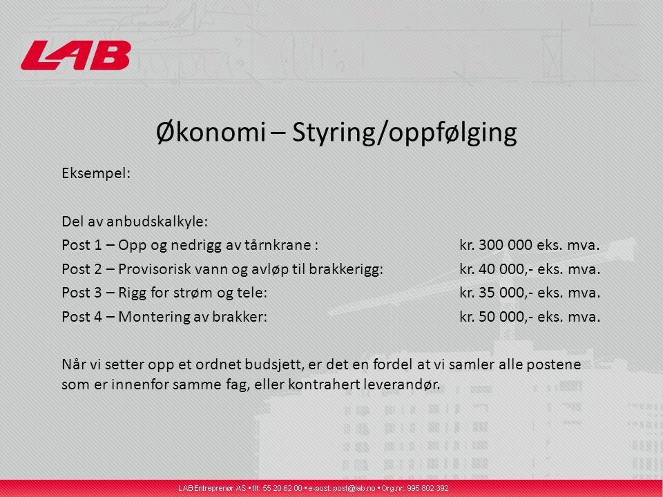 Økonomi – Styring/oppfølging Eksempel: Del av anbudskalkyle: Post 1 – Opp og nedrigg av tårnkrane : kr.