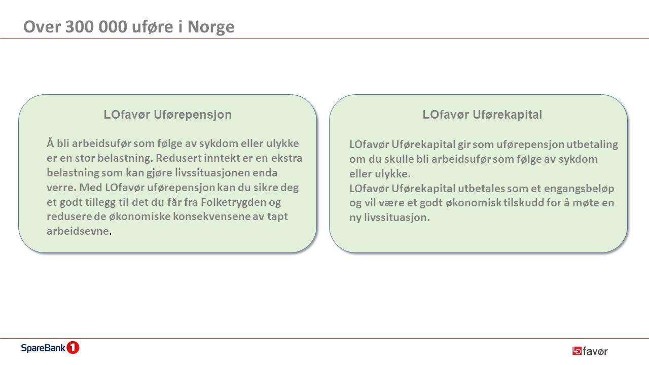 Over 300 000 uføre i Norge LOfavør Uførepensjon Å bli arbeidsufør som følge av sykdom eller ulykke er en stor belastning.