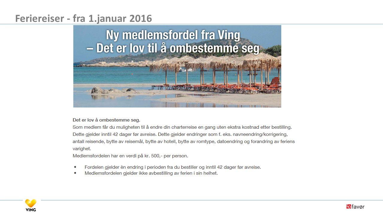 Feriereiser - fra 1.januar 2016