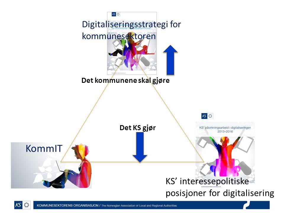 Digitaliseringsstrategi for kommunesektoren KommIT KS' interessepolitiske posisjoner for digitalisering Det kommunene skal gjøre Det KS gjør
