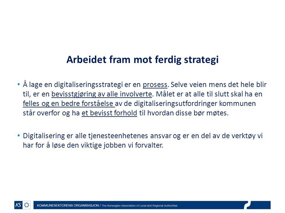 Arbeidet fram mot ferdig strategi Å lage en digitaliseringsstrategi er en prosess.